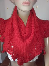 Sciarpa triangolare coprispalle lana all'uncinetto
