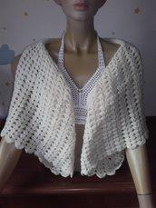 Coprispalle abbigliamento donna bolerino all'uncinetto invernale lana