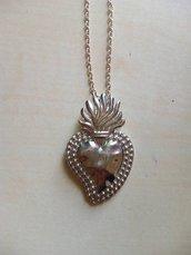 collana cuore sacro ex voto cuore messicano ottone sicilia