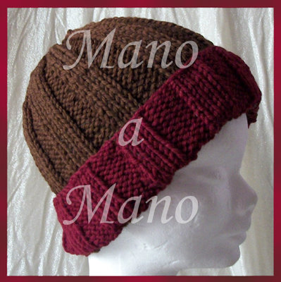 Cappello a cuffia - Marrone e bordeaux
