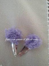 Coppia fermagli  / fermacapelli con pom pom in lana