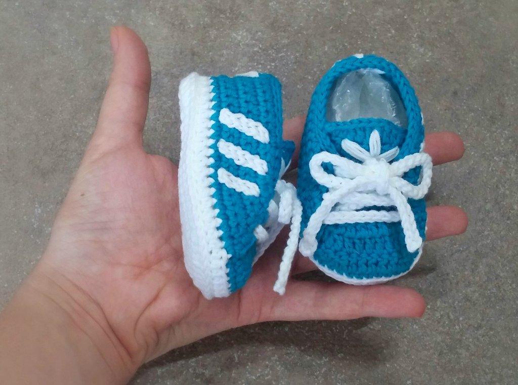 Scarpine Neonato A Uncinetto Stile Adidas