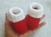 Babbucce neonato Natale ai ferri - Calzini neonato-