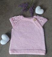 Maglioncino/scaldacuore neonato 3/4kg in misto lana lavorato ai ferri