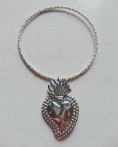bracciale rigido bangle ex voto cuore sacro ottone argento sicilia