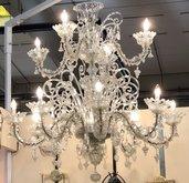 Braccio, ricambio per lampadari di Venini e non,  in vetro di Murano, color trasparente, realizzato a mano