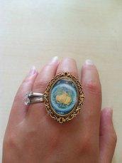 anello cammeo limoni sicilia agrumi barocco ottone oro carta