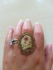 anello cammeo carte da gioco siciliane sicilia  barocco ottone oro