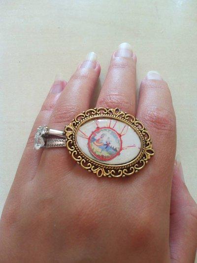 anello cammeo tamburello siciliano sicilia  barocco ottone oro