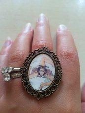 anello cammeo trinacria simbolo siciliano sicilia triskele barocco ottone oro