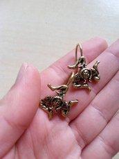 orecchini trinacria triskele simbolo sicilia ottone bronzo antico barocchi