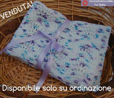 Copertina culla a maglia in lana baby stampata