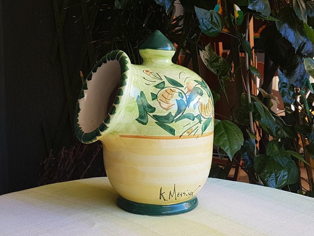 Portasale saliera in ceramica siciliana decorata a mano le