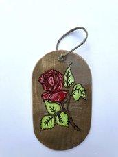 targhetta legno Rosa