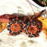 Orecchini di Perline Arancioni e Marroni
