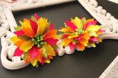 Fiori arcobaleno / fermacapelli a clip / Fiori  di raso con Clip / Kanzashi Flower Burnt Edge