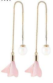 Orecchini a catenella con fiore in tessuto rosa e perla bigiotteria