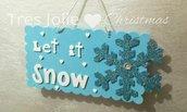 FESTONE GHIRLANDA FUORIPORTA ADDOBBO NATALE ESTERNO E INTERNO let's it snow