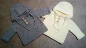 Maglioncino neonato  con cappuccio in lana acrilica Cervinia, made in Italy taglia 0-3 mesi