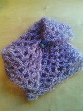 scalda collo collo in lana fatta a mano donna  lilla con bottone vintage - snood - sciarpa lana -  infinity scarf