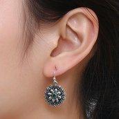 Orecchini a fiore con pietra verde colore argento anticato