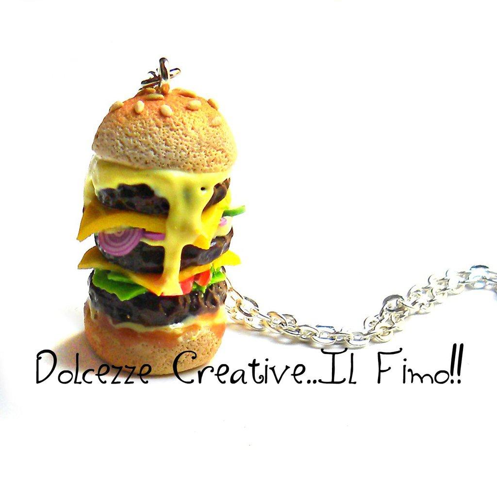 Collana Hamburger - panino con cipolle, formaggio, insalata, pomodoro, cetrioli ecc. miniature - idea regalo - handmade