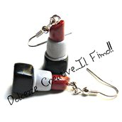 Orecchini Rossetto Rosso - in fimo e cernit - make up artist - idea regalo handmade - miniature