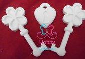TRIS di Gessetti artigianali a forma di 2 chiavi + Lucchetto : Segnaposto, chiudipacco, bomboniere, idea regalo