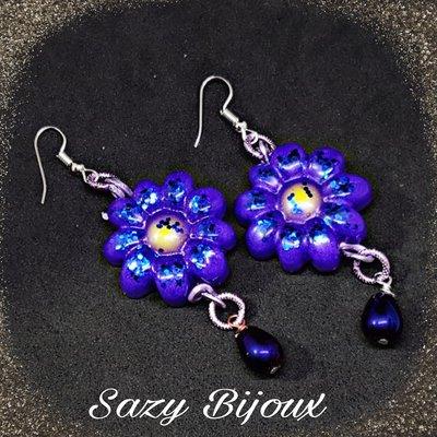 Orecchini MARGY Viola iridescente con Perla centrale e Goccia pendente