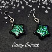 Orecchini STAR -  Nero con glitter iridescenti
