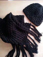 completo lana cappello e sciarpa con frange fatto a mano donna ragazza pizzo effetto noccioline