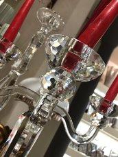 Candelabro o portacandele, in vetro e cristallo trasparente, altezza 50 cm