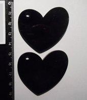 (063) - coppia ciondoli a cuore in plexiglass nero