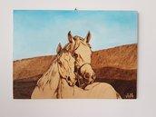 Pirografia. Paesaggio. Cavalli