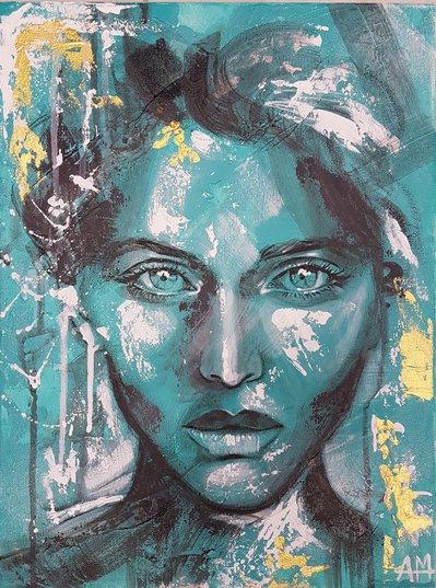 FIRST. Dipinto. Volto donna.