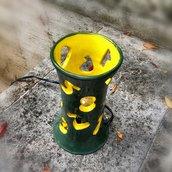 Lampada numerica verde e gialla, in ceramica, fatta a mano