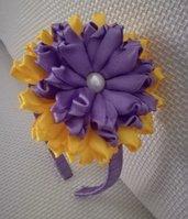 Cerchietto fiore bicolore accessorio per capelli donna e ragazza misura diametro cm9