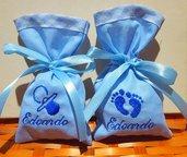 Stock 25 sacchetti portacofetti azzurri ricamati nome bimbo + piccolo ricamo