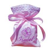 Stock 25 sacchetti portacofetti rosa ricamati nome bimba + piccolo ricamo