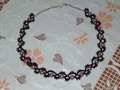 collana chiacchierino pizzo nero con perle rosa