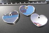 215 - Lotto ciondolo cuore in plexiglass specchiato
