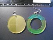 (209) - coppia ciondoli cerchi in plexiglass colorato