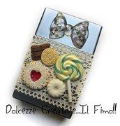 Portasigarette color argento - caramelle. kawaii, cioccolato, handmade, leccalecca, biscotti cuore, idea regalo fumatrice
