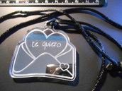 (187) - ciondolo lettera d'Amore in plexiglass argento specchio