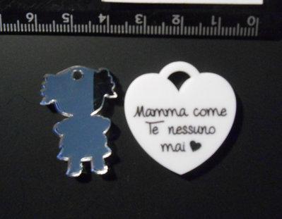 (180)  ciondolo cuore tiffany mamma e bimba specchiata