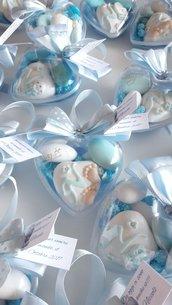 Cuore di confetti decorati - bomboniera battesimo cuore - cuore confetti - bomboniera nascita cuore - cuore apribile confetti - bomboniera a forma di cuore