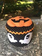 Scatola rivestita di feltro, decorata con fantasmi e zucca per Halloween