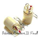 Natale in Dolcezze -  Orecchini barattolo di latte caldo con bastoncini di zucchero . fimo, handmade miniature