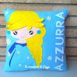 Cuscino per cameretta bambina principessa personalizzato con nome fatto a mano in pannolenci.