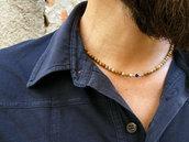 Collana da uomo in diaspro, onice nero e argento 925, realizzata a mano con materiali di qualità